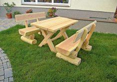 Gartenbank Holz Rustikal Selber Bauen Lehne Douglasie Stuck