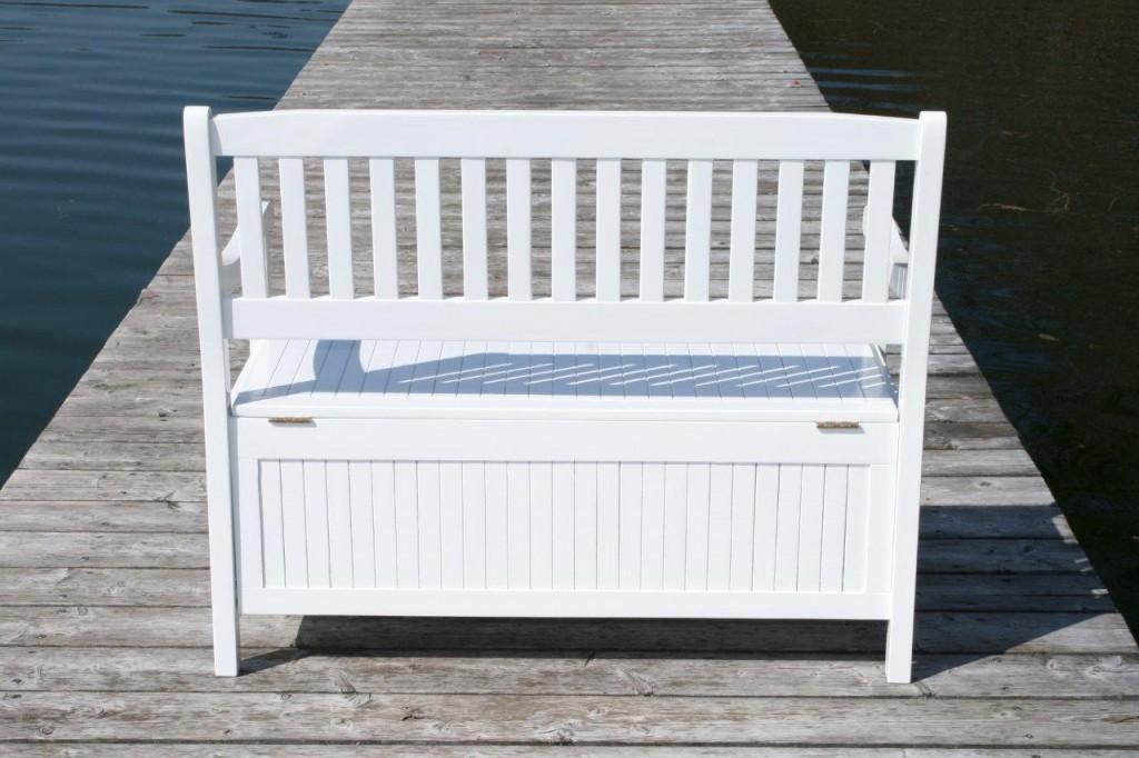 Gartenbank Mit Truhe Holz Weiß