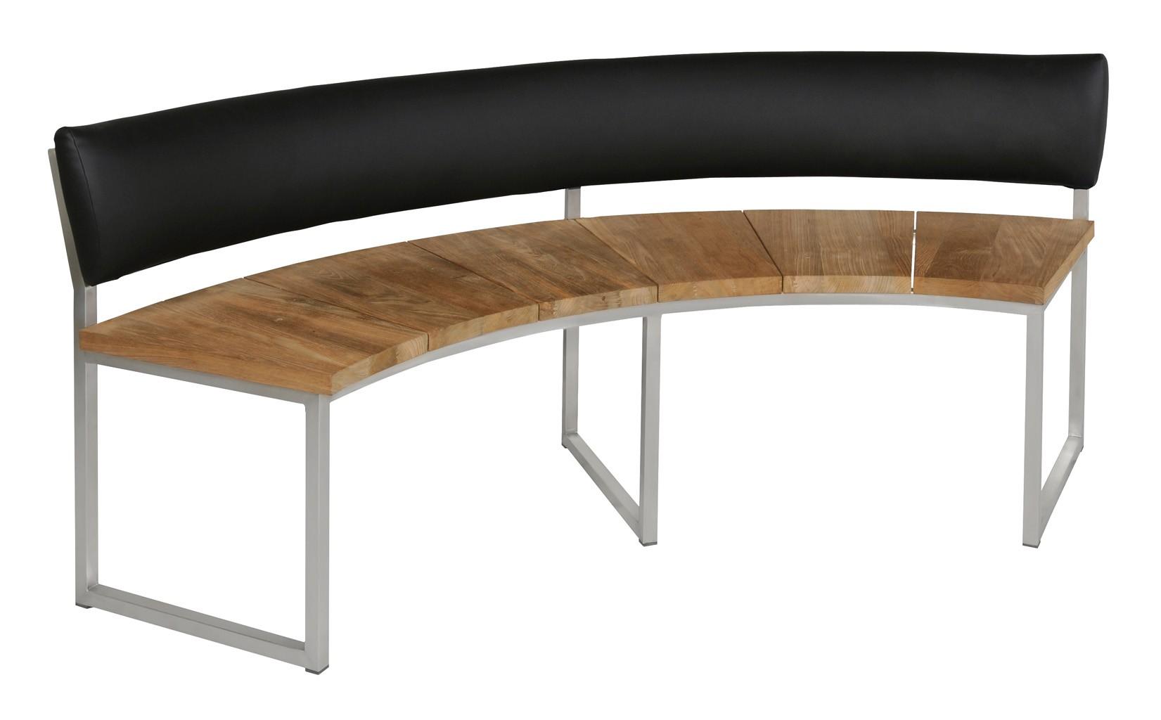 Bauhaus Gartenbank Teak Halbkreisförmig