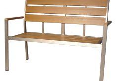 Gartenbank Aluminium Holz Teakbraun 2 Sitzer