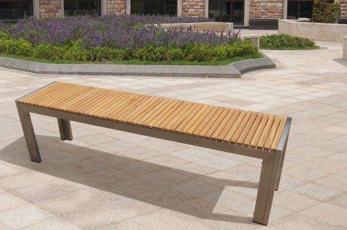 Gartenbank Edelstahl Teak Holz 160x38x45 Cm