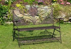 Gartenbank Eisen Braun Blumen