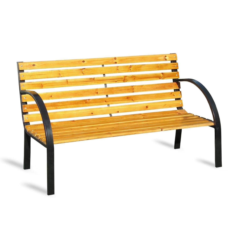 Gartenbank Eisen Holz 2 Sitzer