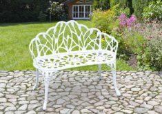 Gartenbank Metall Weiß
