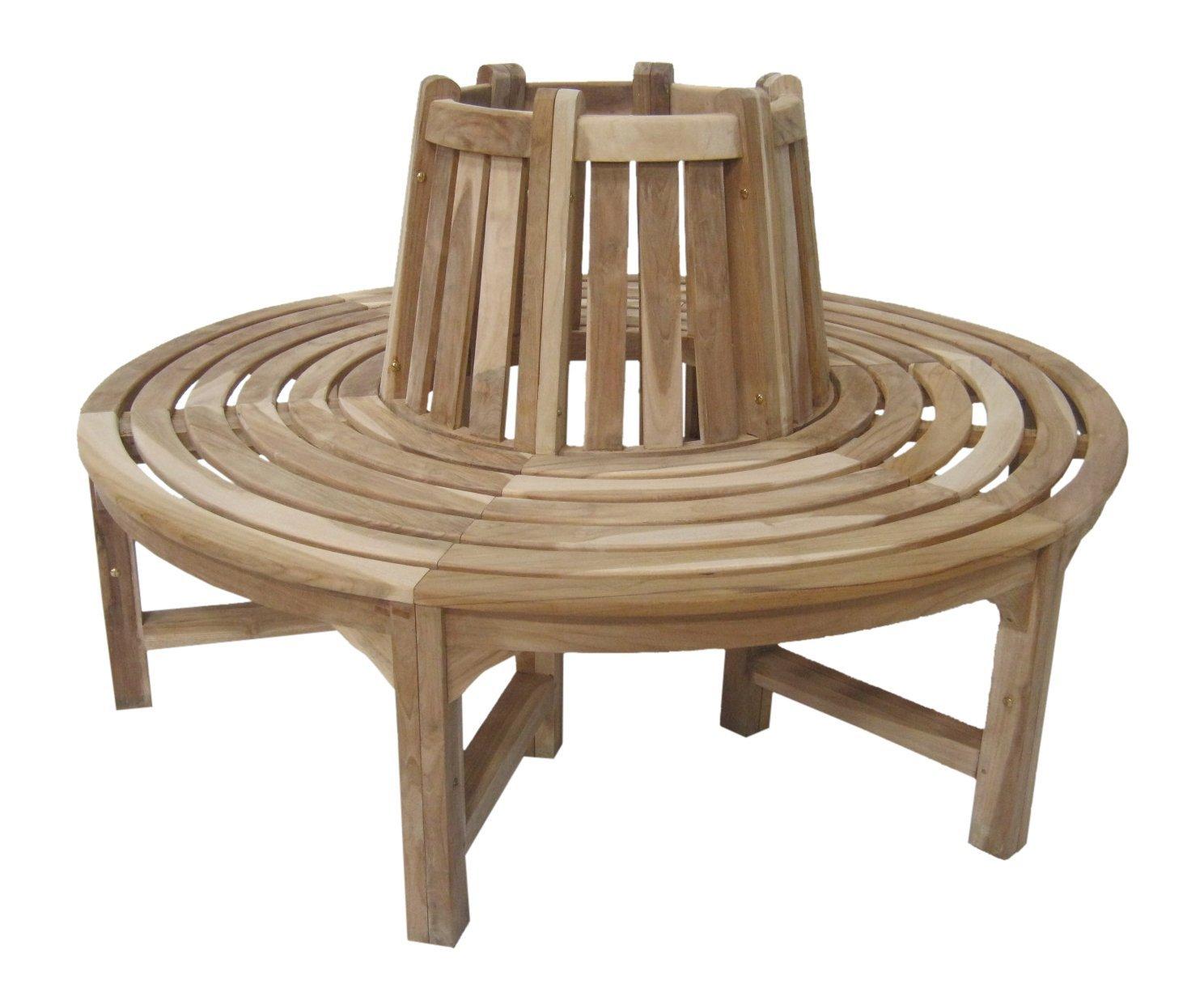 Gartenbank Rund Holz Baumbank Ambientehome Teak