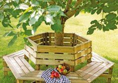 Gartenbank Rund Holz Grun Felix