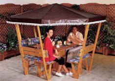 Gartenbank Holz Mit Dach Gartenlaube Integriert Personen