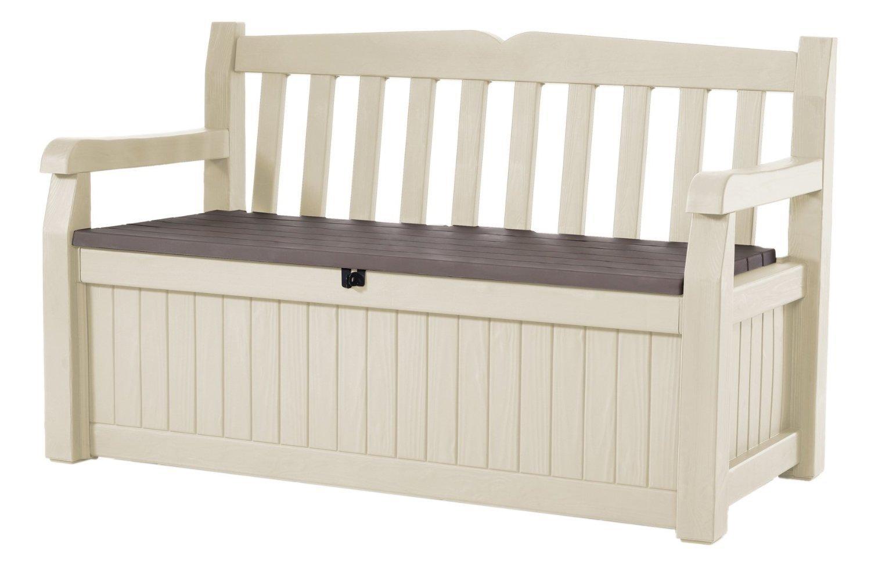 Gartenbank Kunststoff Weiß Zweisitzer Keter Kissenbox Holzoptik