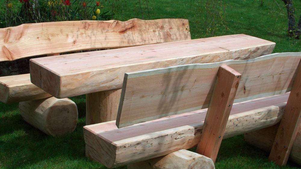 Gartenbank Massiv Baumstamm Holz Sitzgruppe