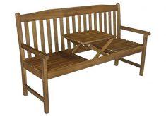 Gartenbank Mit Ausklappbarem Tisch Akazie Holz Natur
