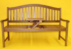 Gartenbank Mit Ausklappbarem Tisch Tischablage Eukalyptusholz Natur