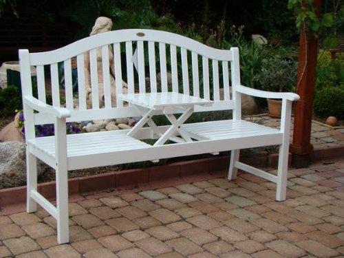 Gartenbank Mit Ausklappbarem Tisch Weiss Holz Eukalyptus