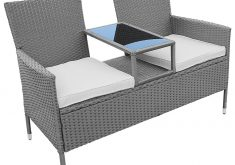 Gartenbank Mit Integriertem Tisch Grau Polyrattan