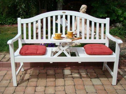 Gartenbank Mit Integriertem Tisch Weiß Holz Eukalyptus