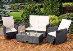 Zweisitzer Gartenbank Mit Integriertem Tisch Bestehend Sessel Tisch Schwarz