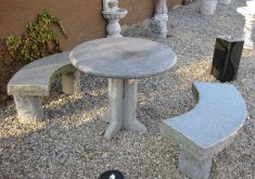 Gartenbank Granit Halbrund Massive Frostfest Sitzbank