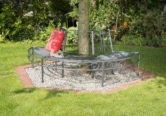 Gartenbank Halbrund Baum Metall
