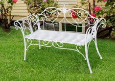 Gartenbank Metall Antik Weiss 2 Sitzer