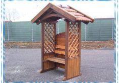 Überdachte Gartenbank Holz 2 Sitzer Bilder