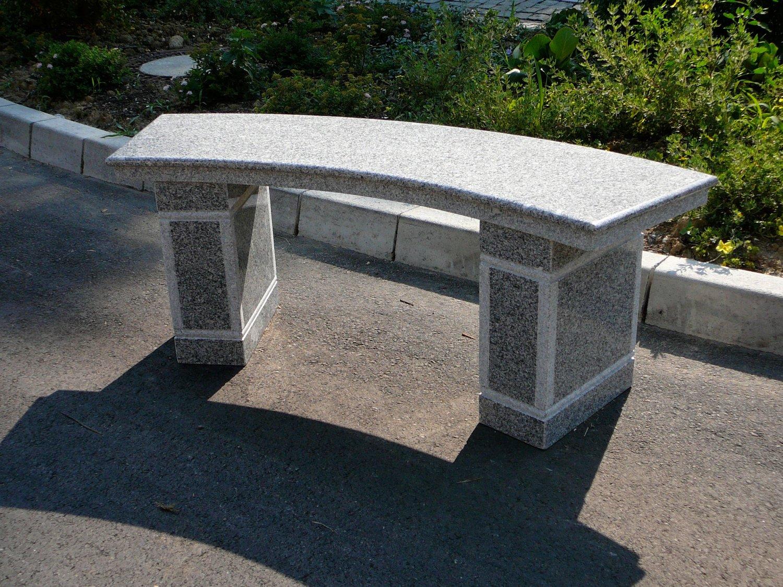 Gartenbank Rund Stein Granit Grauer Gebogen