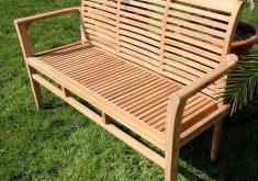 Moderne Gartenbank Teak 3 Sitzer