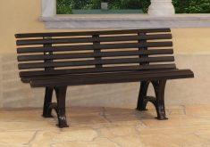 Design Gartenbank Kunststoff Braun 150 Cm