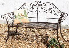 Gartenbank Aus Metall Mit Drahtgeflecht Braun 146 Cm Schmiedeeisen