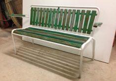 Gartenbank Grün Holz Und Weiss Metall