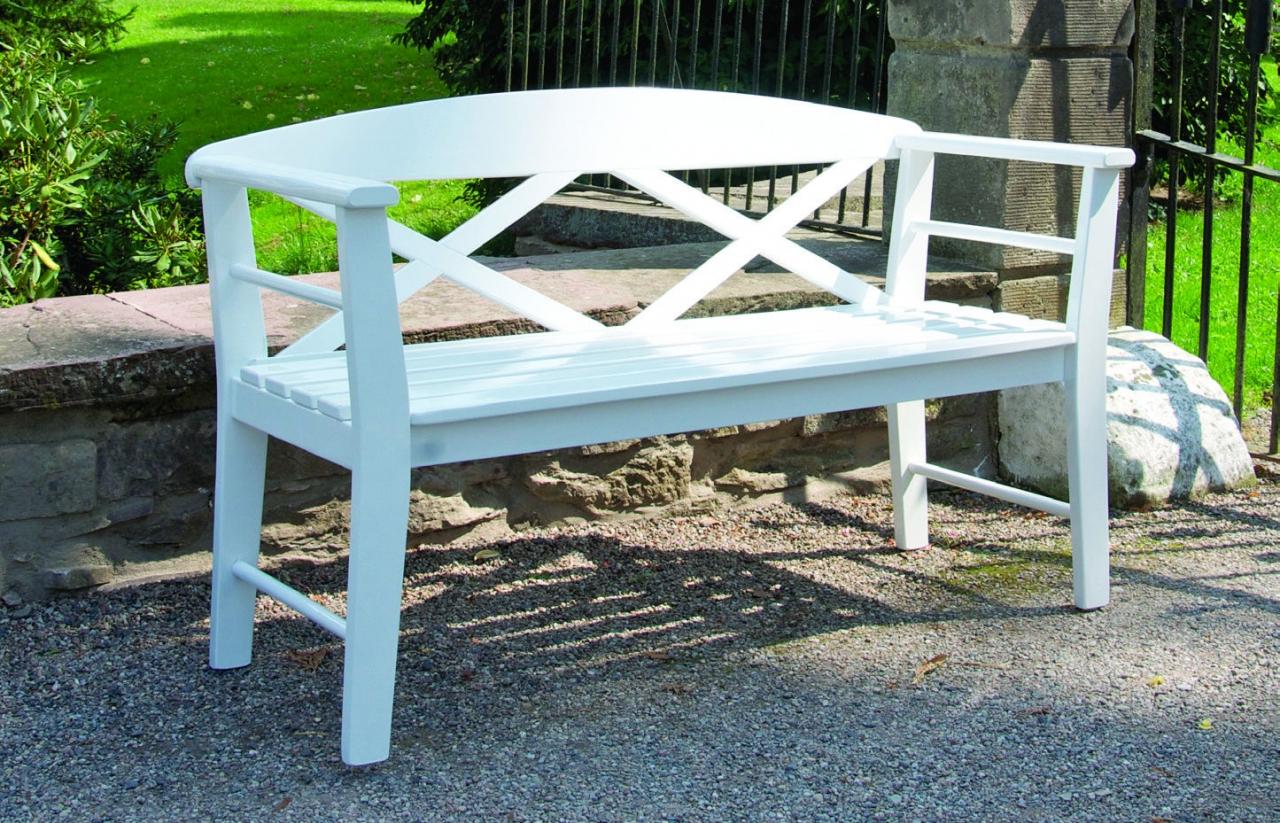 Gartenbank Holzbank Weiß
