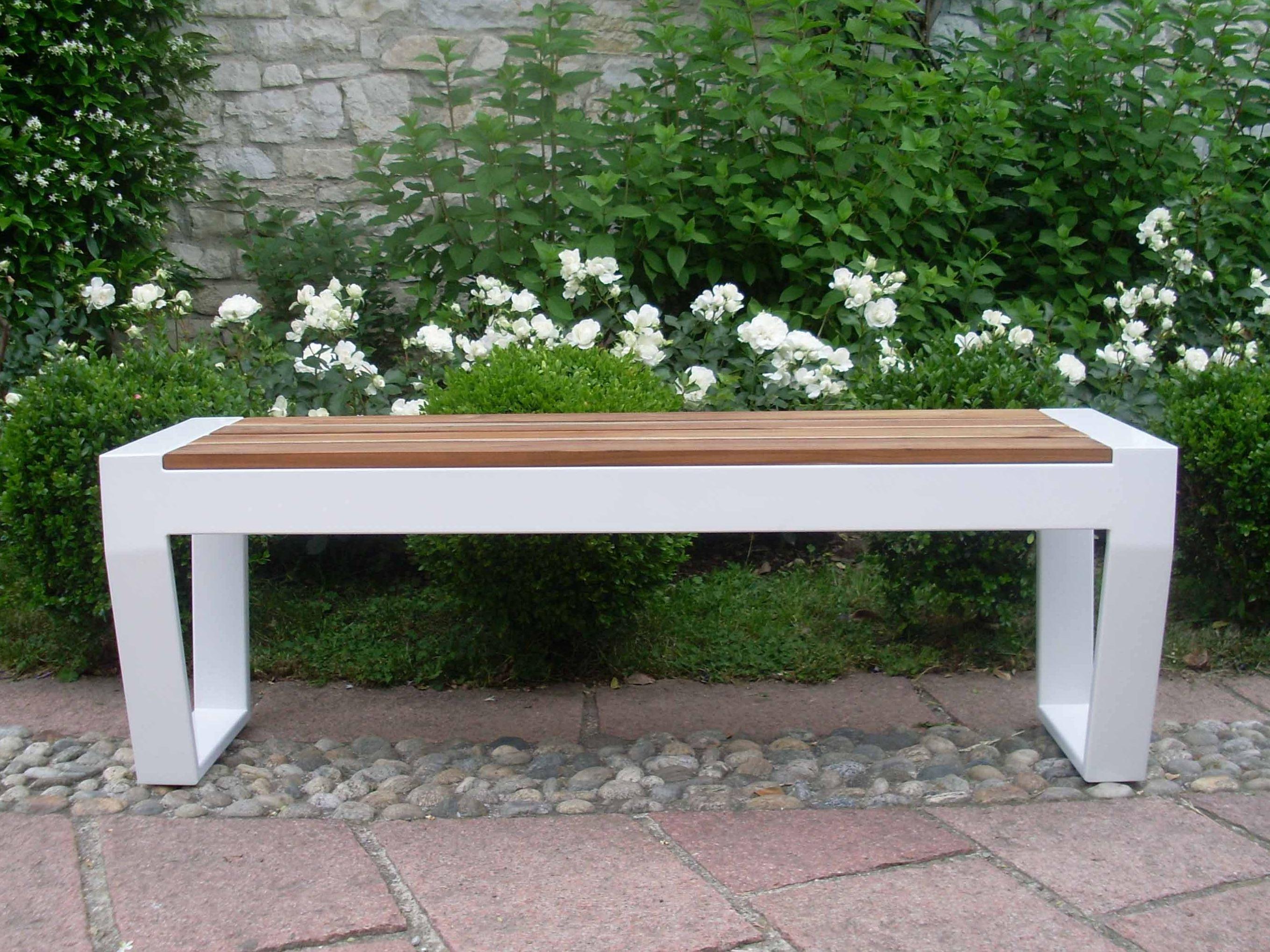 Gartenbank Metall Design Weiss Braun Modern