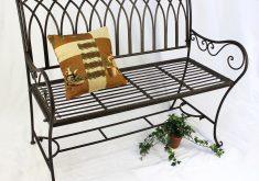Gartenbank Metall Schwarz Romina 2 Sitzer 110 Cm Braun