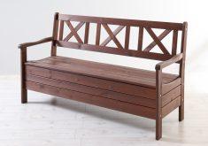 Gartenbank Mit Stauraum Holz 3 Sitzer Massiv Braun