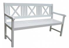 Gartenbank Weiß Holz 3 Sitzer