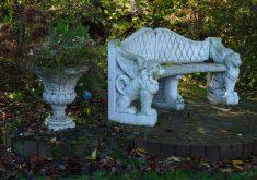 Weiße Gartenbank Bänke