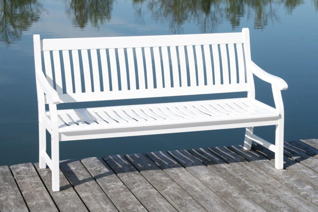 Wetterfeste Gartenbank Weiß Holz Massive 2 Sitzer