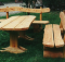 Gartenbänke Aus Baumstamm Einen Vollständigen Satz Von Stühlen Und Tischen
