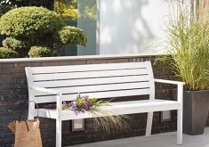 Gartenbank Auflagen Bauhaus Für Zwei Personen Aus Holz Weiß Lackiert Farbe