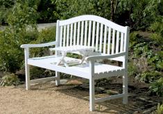 Gartenbank Weiß Holz Schönes Design Mit Tabellen, Stark Und Wasserdicht