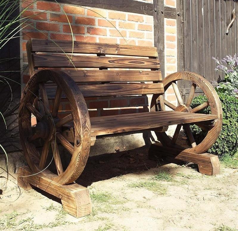 Antike Gartenbank Holz Wagenrad Künstlerischen Und Einzigartiges Design, Das Gemustert Räder
