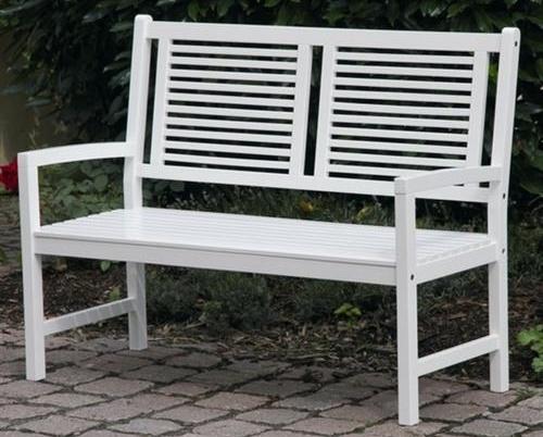 Gartenbank 2 Sitzer Weiss Akazie Hartholz Birkensee Holzbank Mit Armlehnen