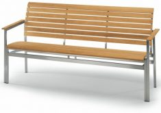 Gartenbank Alu Geflecht Sandy Teak Holz Fischer Outdoor Sitzbank Lapiazza Bench Arm