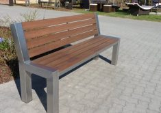 Gartenbank Aus Edelstahl Und Holz Länge Modell Mit Metallbeinen Kräftig