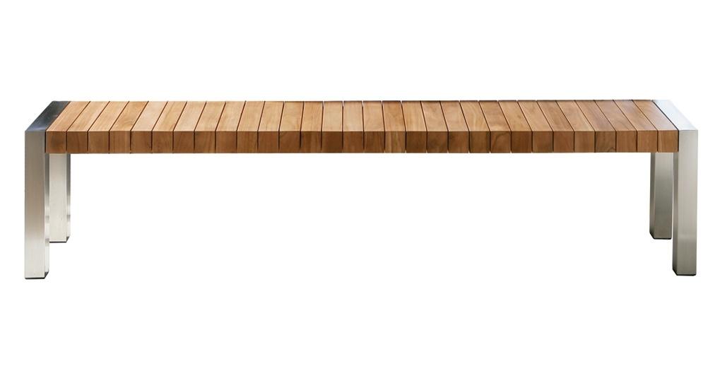 Gartenbank Edelstahl Teak Lang Mit Sitz Aus Holz Und Metall Beine Bequem