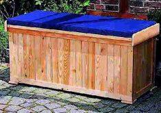 Gartenbank Friesenbank Mit Kissenbox Blau Sitzbank Inkl Sitzauflage Holzbank 120x51x56cm