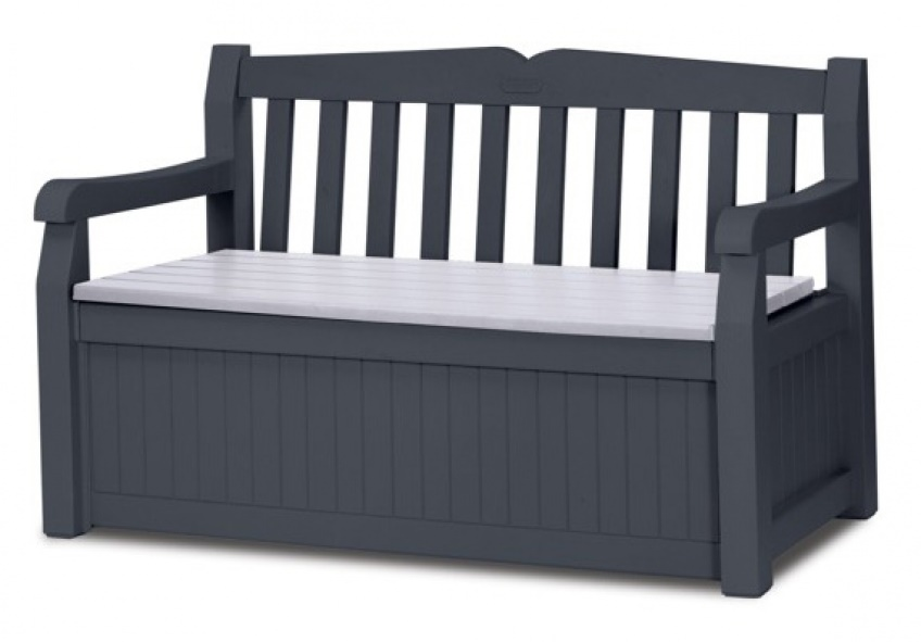 Gartenbank Mit Kissenbox Holz Schwarze Farbe Mit Einem Schönen Dünnen Kissenentwurf