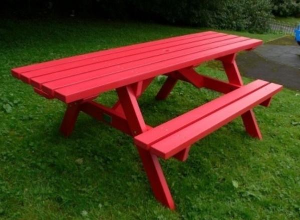Rote Gartenbank Mit Tisch Rot Farbe