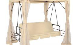 Gartenbänke Mit Dach Beige Bettfunktion Sitz